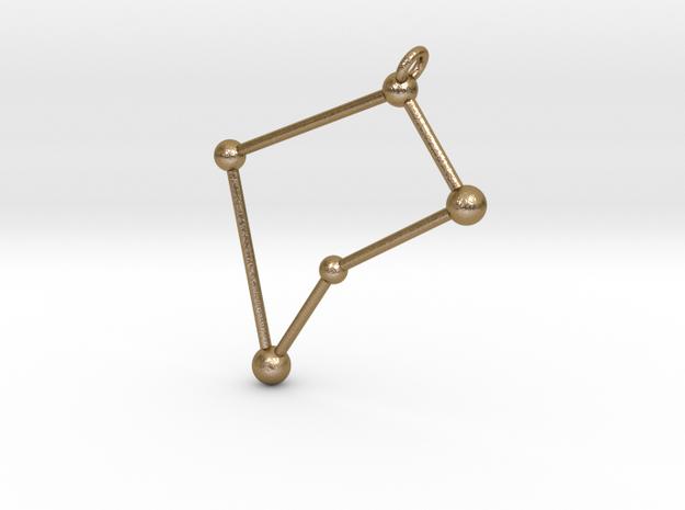 Virgo Constellation Pendant in Polished Gold Steel