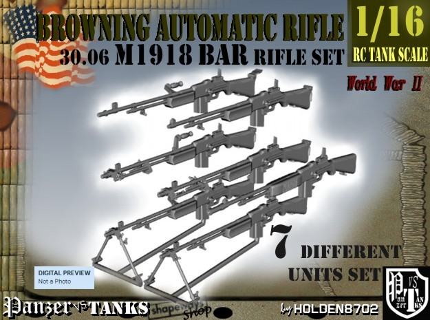 1-16 Browning BAR 1918A2 Set in Frosted Ultra Detail
