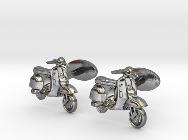 Vespa Cufflinks. in Fine Detail Polished Silver
