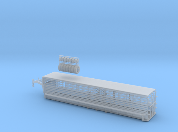 1/64 34' Cattle Trailer Bar Style in Smooth Fine Detail Plastic