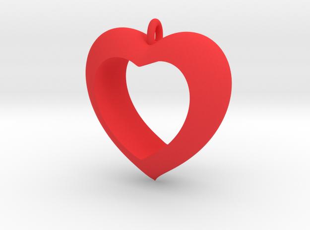 Heart Pendant #4 in Red Processed Versatile Plastic