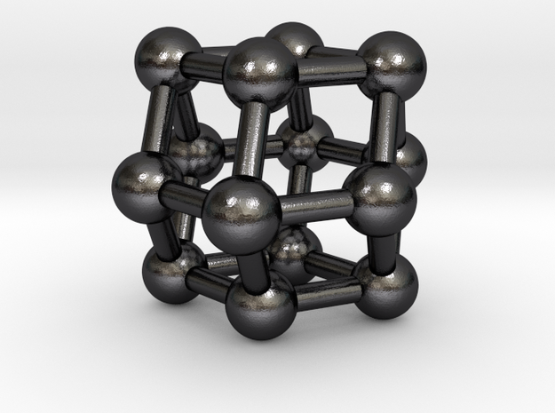 0306 Rhombic Dodecahedron V&E (a=1cm) #003 in Polished and Bronzed Black Steel
