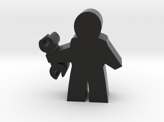 Agent Tech Meeple, with Wrench in Black Natural Versatile Plastic