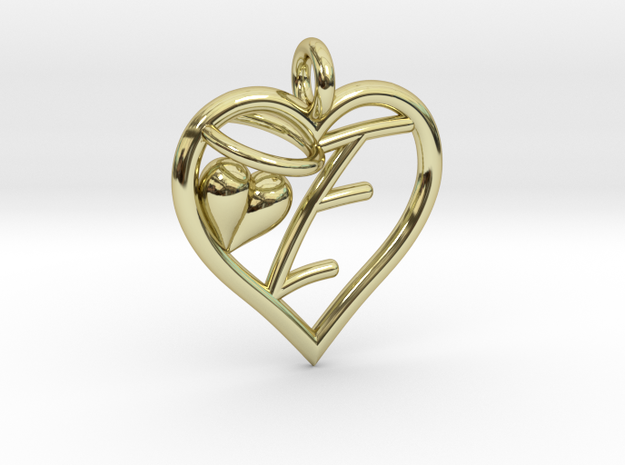 HEART E in 18k Gold Plated Brass