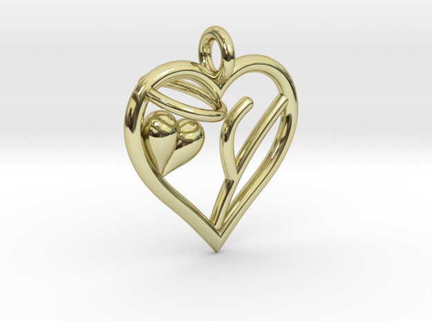 HEART Y in 18k Gold Plated Brass