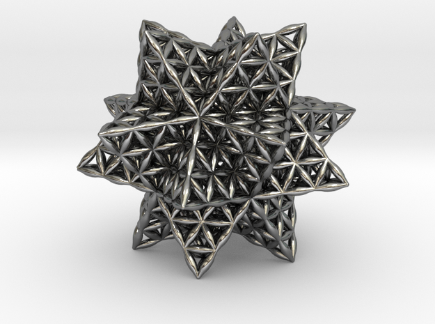 Flower Of Life Stellated Icosahedron in Polished Silver