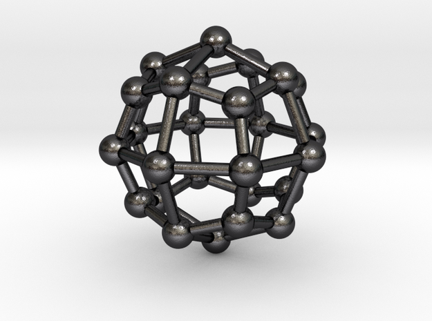 0315 Deltoidal Icositetrahedron V&E (a=1cm) #003 in Polished and Bronzed Black Steel