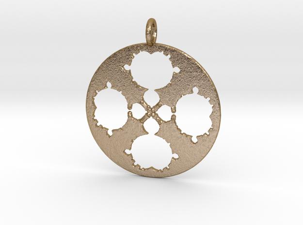 Mandelbrot Clover Pendant in Polished Gold Steel
