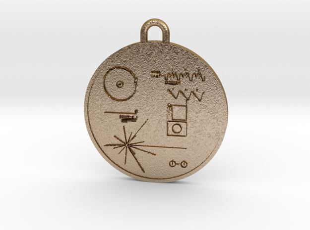 Voyager I Golden Record Pendant in Polished Gold Steel