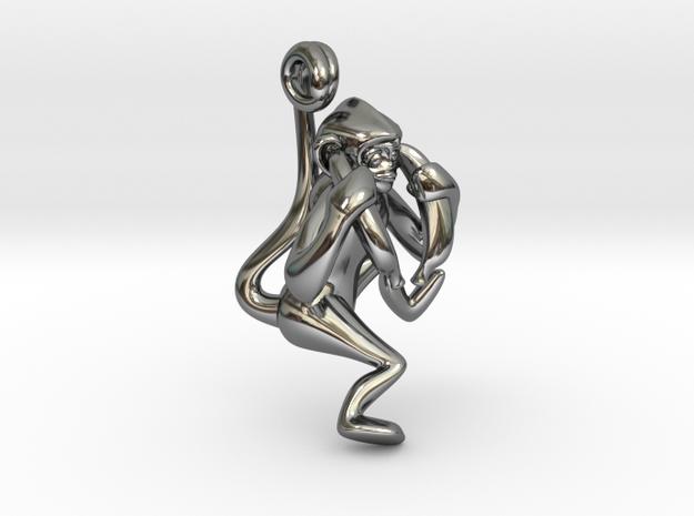 3D-Monkeys 004 in Fine Detail Polished Silver