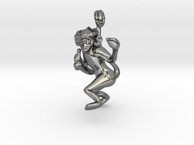 3D-Monkeys 008 in Fine Detail Polished Silver