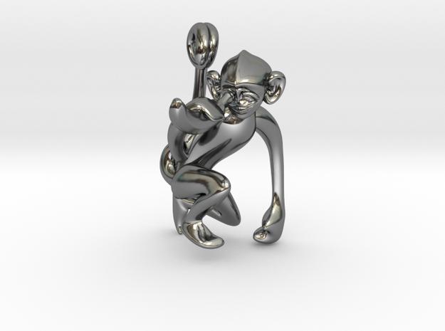 3D-Monkeys 015 in Fine Detail Polished Silver