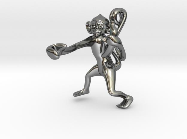 3D-Monkeys 023 in Fine Detail Polished Silver