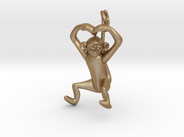 3D-Monkeys 032 in Matte Gold Steel