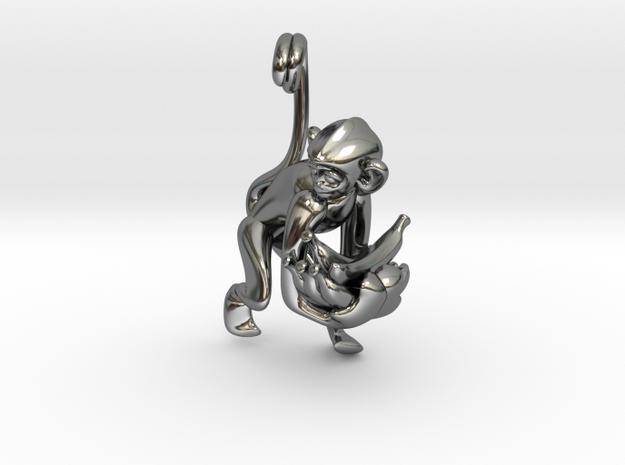 3D-Monkeys 033 in Fine Detail Polished Silver