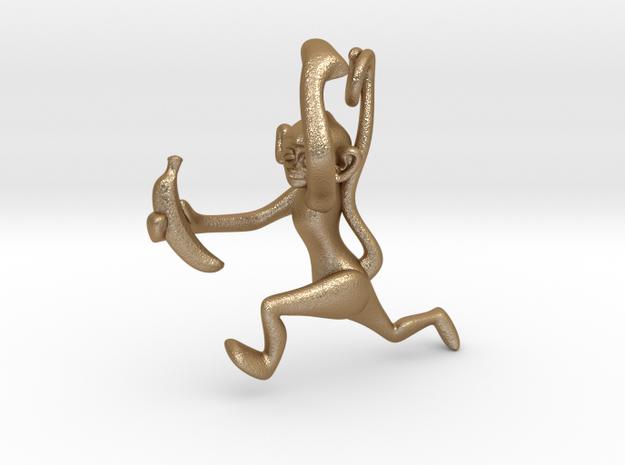 3D-Monkeys 035 in Matte Gold Steel