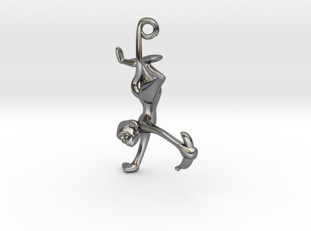 3D-Monkeys 038 in Fine Detail Polished Silver