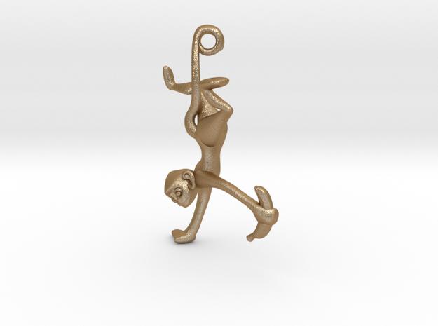 3D-Monkeys 038 in Matte Gold Steel