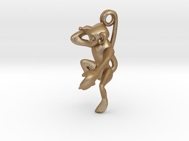 3D-Monkeys 040 in Matte Gold Steel