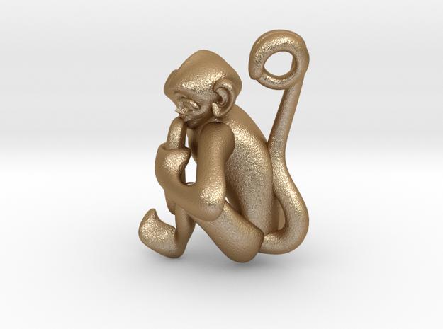 3D-Monkeys 050 in Matte Gold Steel
