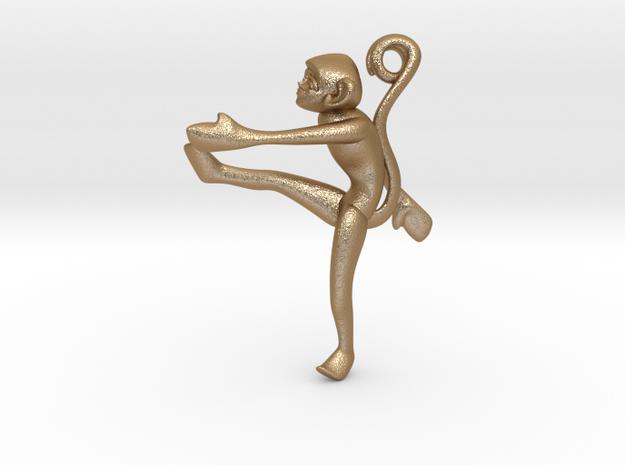 3D-Monkeys 057 in Matte Gold Steel