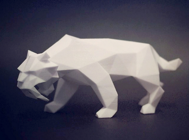 Saber Toothed Tiger in White Processed Versatile Plastic