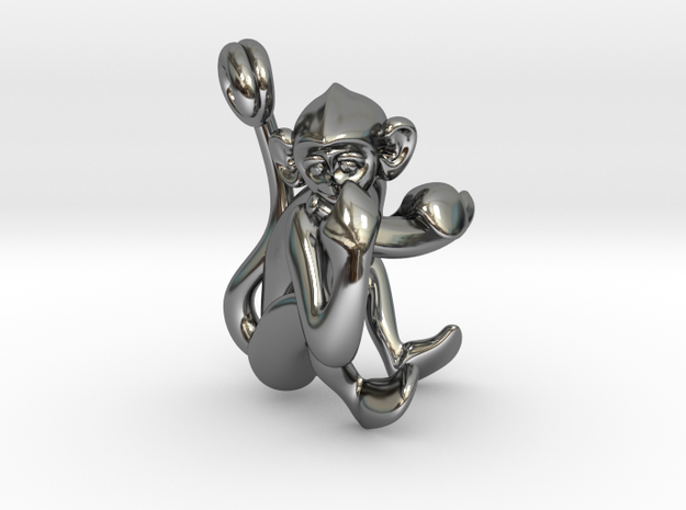 3D-Monkeys 133 in Fine Detail Polished Silver