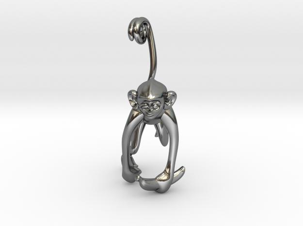 3D-Monkeys 147 in Fine Detail Polished Silver