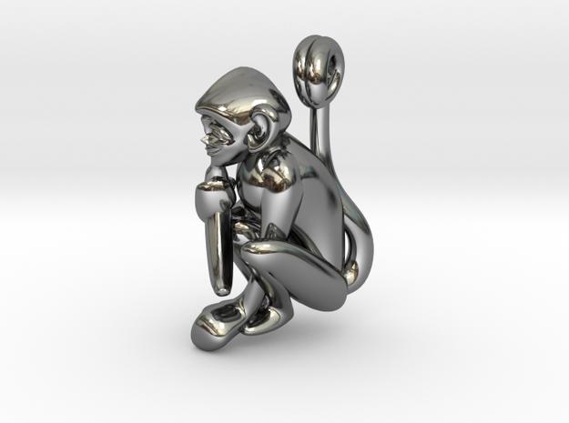 3D-Monkeys 151 in Fine Detail Polished Silver