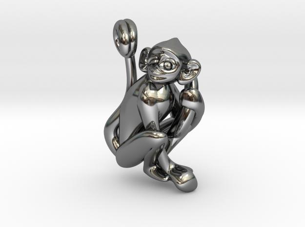 3D-Monkeys 152 in Fine Detail Polished Silver