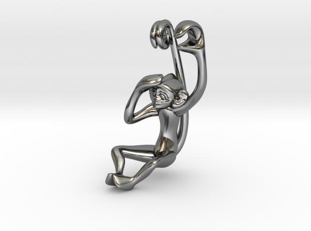 3D-Monkeys 172 in Fine Detail Polished Silver