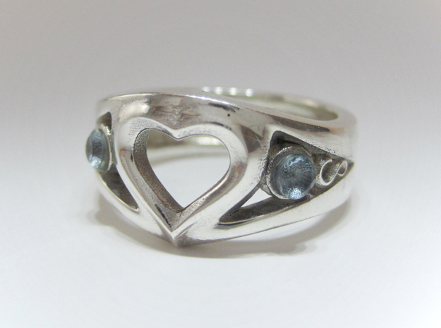 Heart Ring(Inner diameter of ring 18mm) in Polished Silver