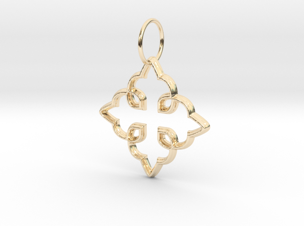 Royal Cross Pendant in 14K Gold