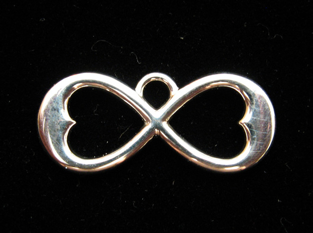 Two Hearts Infinity Symbol (small) 3d printed Premium Silver Two-Hearts Pendant
