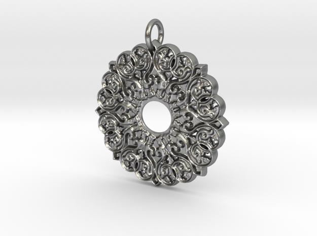 Moorish Mandala Pendant in Natural Silver
