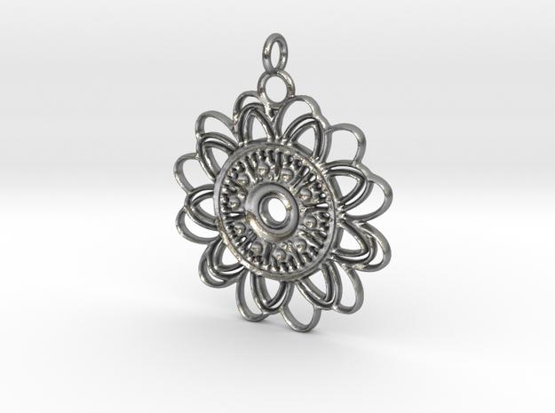 Petal Mandala Pendant in Raw Silver