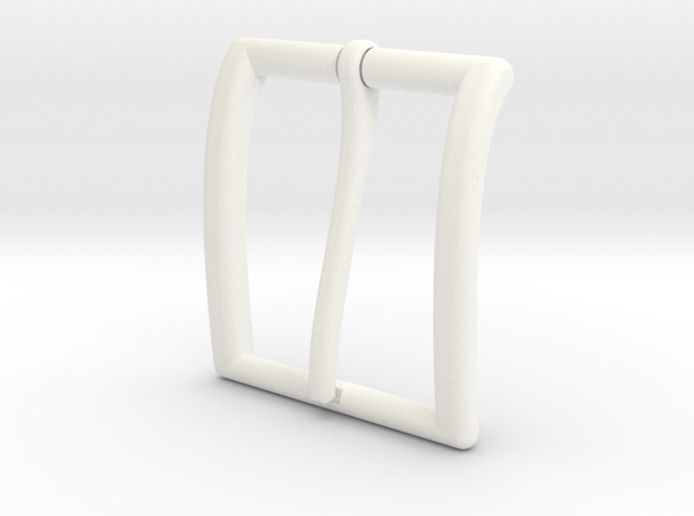 35mm Belt buckle with round edges and 4mm tang in White Processed Versatile Plastic