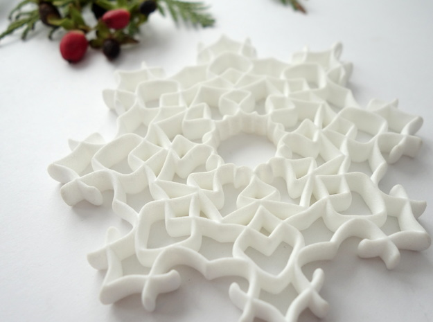 Fancy Snowflake in White Natural Versatile Plastic