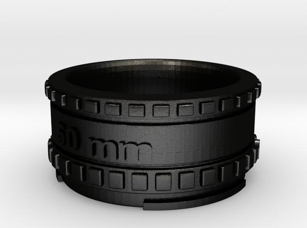 (Size 14) Lens Ring in Matte Black Steel
