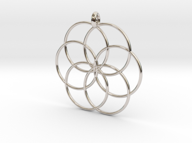 Flower of Life - Hollow Pendant V2 in Rhodium Plated Brass