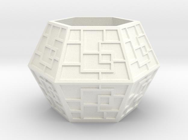 六角形筆筒 in White Processed Versatile Plastic