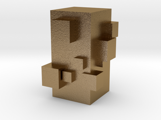Cubic Chess - Pawn in Polished Gold Steel