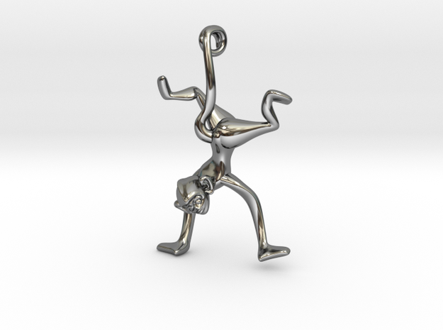 3D-Monkeys 327 in Fine Detail Polished Silver