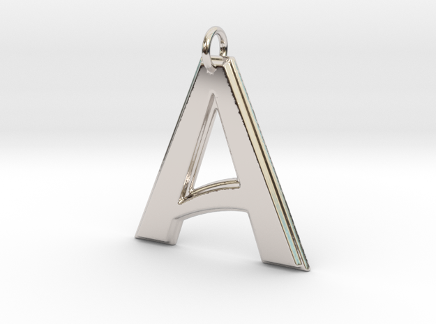 """A"" Letter Initial Pendant in Rhodium Plated Brass"