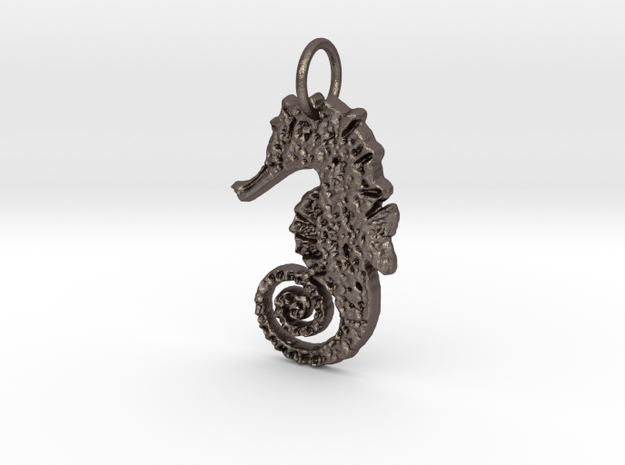 Seahorse Pendant in Polished Bronzed Silver Steel
