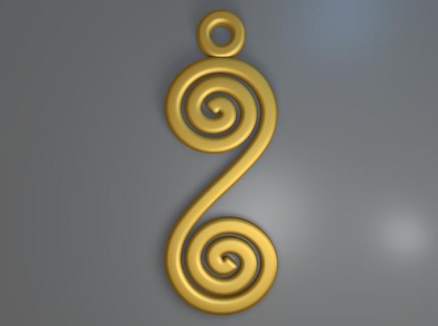 Spirals earring or pendant 3d printed Spirals (Gold)