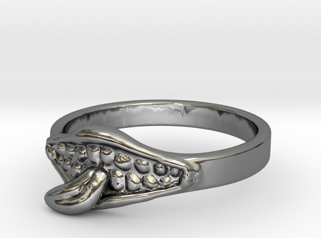 Mouth ring(Japan 10,USA 5.5,Britain K) in Fine Detail Polished Silver