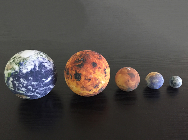 Mercury, Venus, Earth, Moon & Mars to scale in Full Color Sandstone