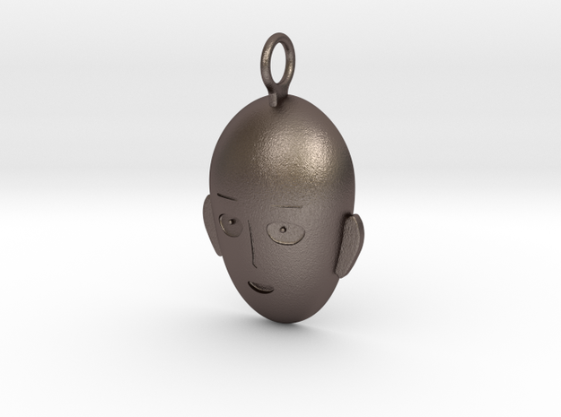 Saitama Face Pendant in Polished Bronzed Silver Steel