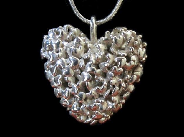 365 Hearts Pendant in Fine Detail Polished Silver